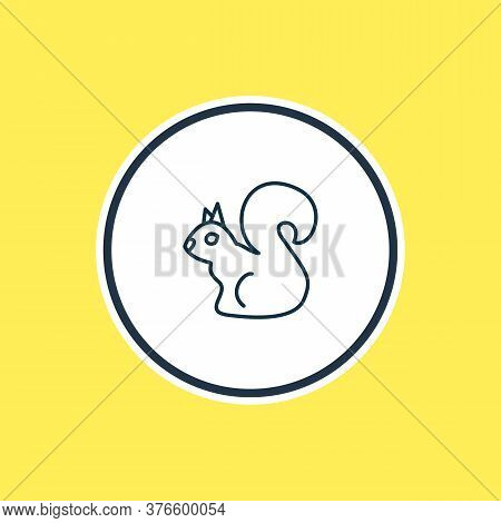 Vector Illustration Of Squirrel Icon Line. Beautiful Animals Element Also Can Be Used As Chipmunk Ic