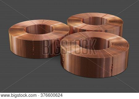 Pipes Bobbins. Copper Metal. Isolated On A Gray Background, Clipping Path Included. 3d Illustration