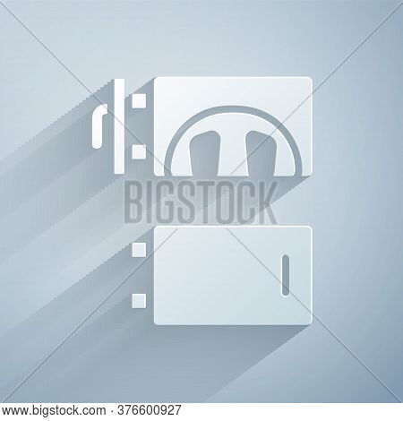 Paper Cut Crematorium Icon Isolated On Grey Background. Paper Art Style. Vector