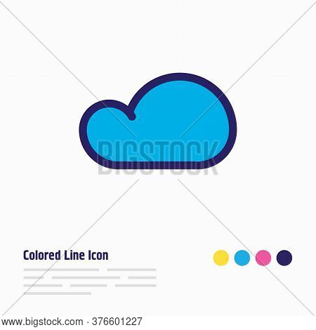 Vector Illustration Of Cloud Icon Colored Line. Beautiful Camping Element Also Can Be Used As Overca
