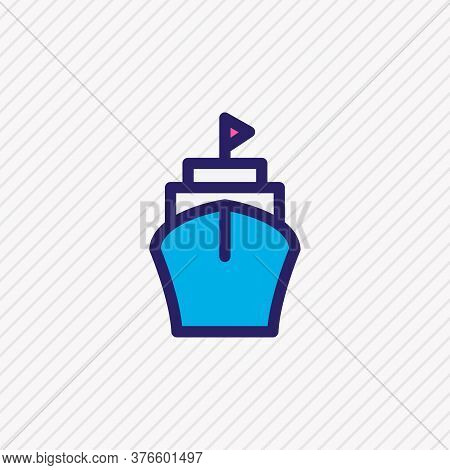 Vector Illustration Of Ship Icon Colored Line. Beautiful Transit Element Also Can Be Used As Vessel