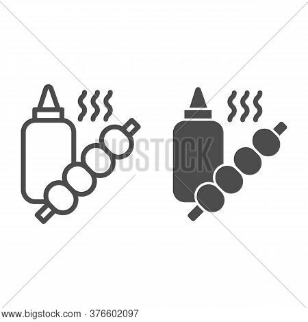 Sauce Bottle And Barbecue Line And Solid Icon, Street Food Concept, Skewers With Sauce Sign On White