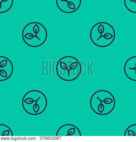 Blue Line Bio Fuel Icon Isolated Seamless Pattern On Green Background. Eco Bio. Green Environment An