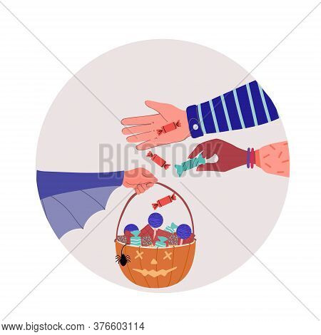 Halloween Trick Or Treat Pumpkin Template. Design Of A Greeting Card With A Basket Of Sweets. Hand-d