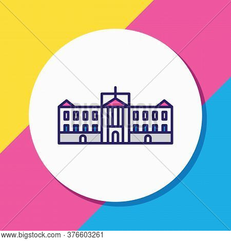 Illustration Of Buckingham Palace Icon Colored Line. Beautiful World Landmarks Element Also Can Be U