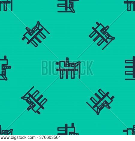 Blue Line Oil Platform In The Sea Icon Isolated Seamless Pattern On Green Background. Drilling Rig A