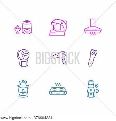 Vector Illustration Of 9 Kitchenware Icons Line Style. Editable Set Of Kitchen Hood, Electric Samova