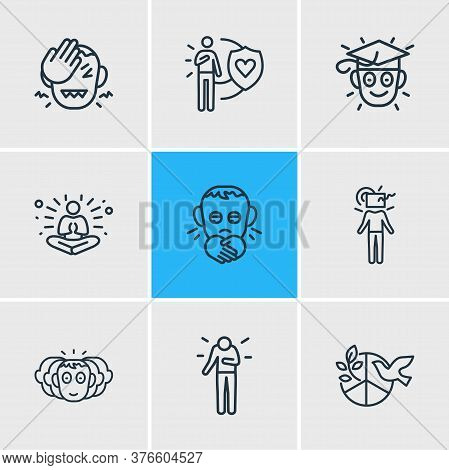 Vector Illustration Of 9 Emotions Icons Line Style. Editable Set Of Learning, Think Outside Box, Per