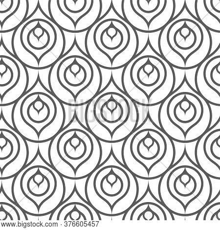 Continuous Linear Graphic Thirties Deco Pattern. Repeat Islamic Vector Wavy Grid Texture. Seamless A