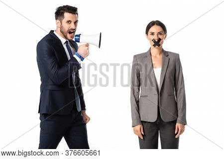 Bearded Businessman Screaming In Megaphone Near Businesswoman With Duct Tape On Mouth Isolated On Wh