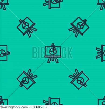 Blue Line Xyz Coordinate System Icon Isolated Seamless Pattern On Green Background. Xyz Axis For Gra