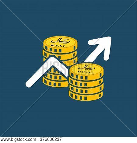 Business Icon, Saudi Riyal. Saudi Stock Market Vector,gold Coins, Share Market, Economy Growth, Saud