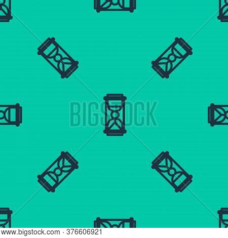Blue Line Old Hourglass With Flowing Sand Icon Isolated Seamless Pattern On Green Background. Sand C