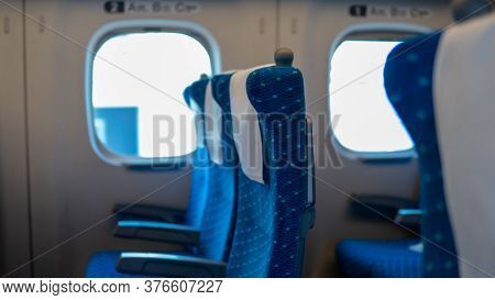 Empty Seats On Commuter Train In Japan Going From Osaka To Tokyo Due To Covid-19 Travel Restrictions