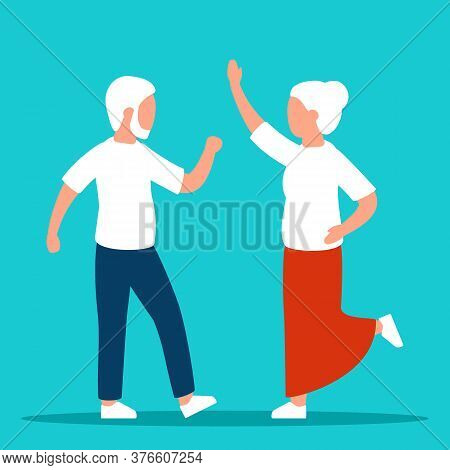 Old Seniors Are Happy. Happy Elderly Retired Couple Man And Woman. Relax, Dance, Enjoy. Vector Illus