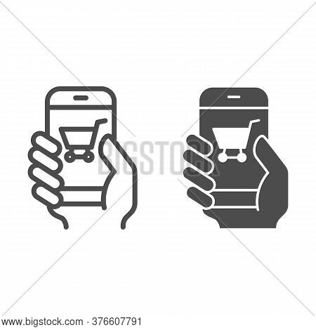 Hand With Smartphone Line And Solid Icon, Shopping Concept, Mobile Payment Through Phone Sign On Whi