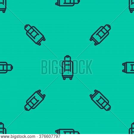 Blue Line Suitcase For Travel Icon Isolated Seamless Pattern On Green Background. Traveling Baggage