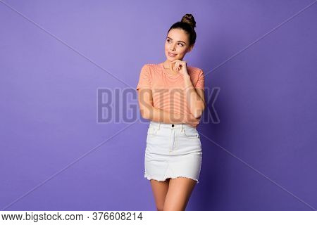 Portrait Of Minded Inspired Girl Touch Hand Chin Think Thoughts Contemplate Plans Wear Stylish Outfi