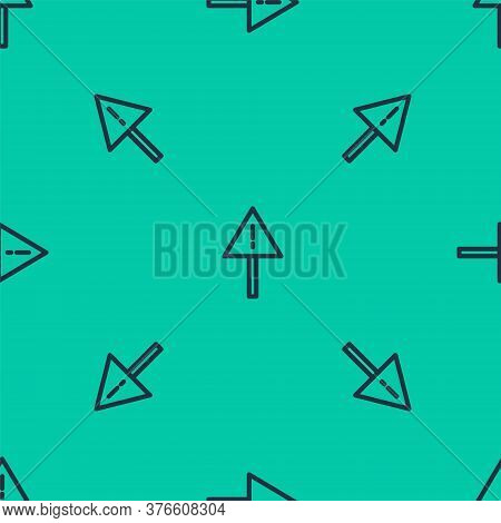 Blue Line Exclamation Mark In Triangle Icon Isolated Seamless Pattern On Green Background. Hazard Wa