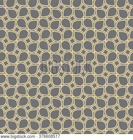 Seamless Vector Gray And Golden Ornament In Arabian Style. Geometric Abstract Background. Pattern Fo