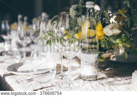 Beautiful Festive Table Setting, Closeup. Wedding Festive Interior, Table Decorations, Flowers, Tabl