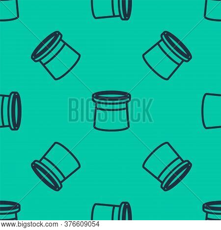 Blue Line Magician Hat Icon Isolated Seamless Pattern On Green Background. Magic Trick. Mystery Ente