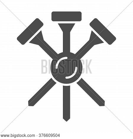Golf Tees Solid Icon, Equipment And Sport Concept, Golf Crossed Tee Sign On White Background, Three