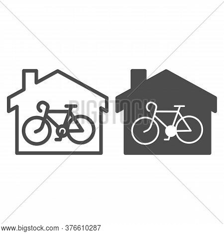 Bicycle In House Line And Solid Icon, Outdoor Sport Concept, Bicycle Inside Home Building Sign On Wh