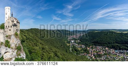 Panorama View Of The Lichtenstein Castle In Southern Germany