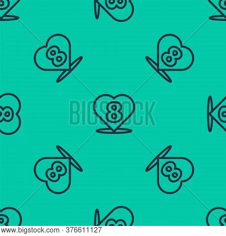 Blue Line Heart With 8 March Icon Isolated Seamless Pattern On Green Background. Romantic Symbol Lin