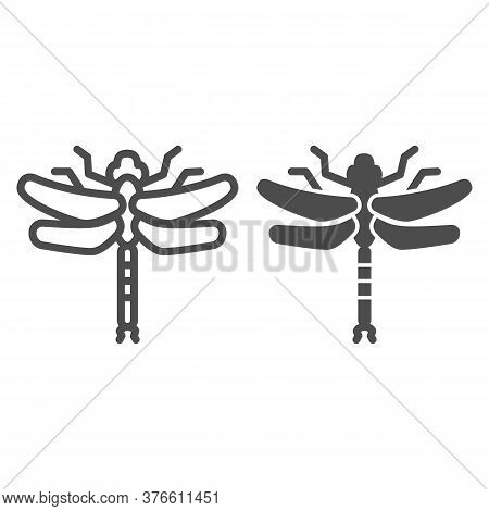 Dragonfly Line And Solid Icon, Insects Concept, Beautiful Predatory Insect With Two Transparent Wing
