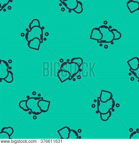 Blue Line Heart Icon Isolated Seamless Pattern On Green Background. Romantic Symbol Linked, Join, Pa
