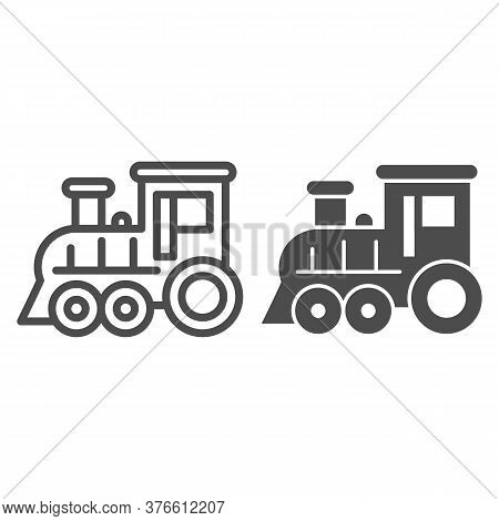 Locomotive Line And Solid Icon, Amusement Park Concept, Train Sign On White Background, Locomotive T