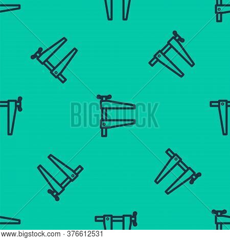 Blue Line Clamp Tool Icon Isolated Seamless Pattern On Green Background. Locksmith Tool. Vector Illu