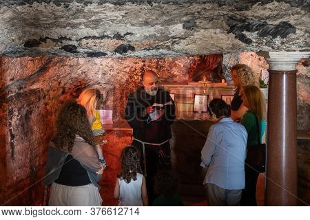 Haifa, Israel, July 10, 2020 : The Priest Makes Group Prayer In The Stella Maris Monastery Which Is