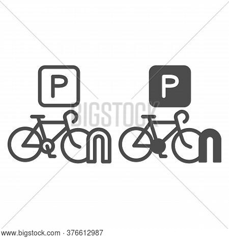 Parking For Cyclists Line And Solid Icon, Outdoor Sport Concept, Parking For Bike Sign On White Back