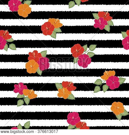 Vector Hibiscus Flowers In Pink Red Orange With Green Leaves On Black And White Stripes Seamless Rep