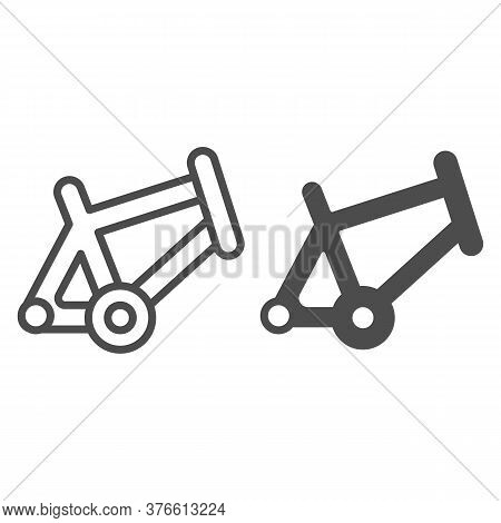 Bicycle Frame Line And Solid Icon, Bicycle Parts And Accessories Concept, Bike Frame Sign On White B