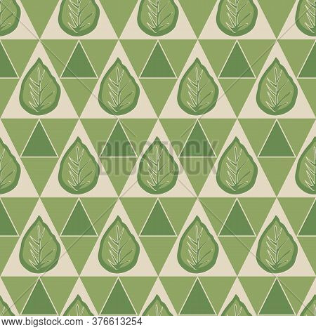 Vector Green Leaves In Green And Beige Triangles Background Seamless Repeat Pattern. Background For