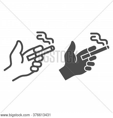 Smoke Cigarette In Hand Line And Solid Icon, Smoking Concept, Hand Holding Cigarette Sign On White B