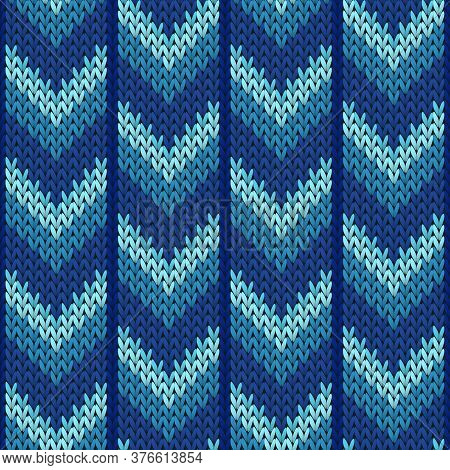 Clothing Downward Arrow Lines Knitting Texture Geometric Vector Seamless. Ugly Sweater Knit Effect O