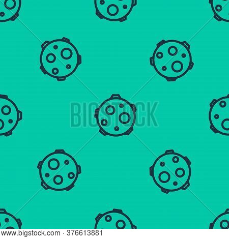 Blue Line Ufo Abducts Cow Icon Isolated Seamless Pattern On Green Background. Flying Saucer. Alien S