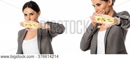 Collage Of Businesswoman With Me Too Lettering On Hand Covering Mouth Isolated On White, Gender Ineq