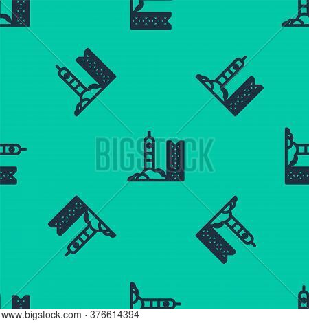 Blue Line Rocket Launch From The Spaceport Icon Isolated Seamless Pattern On Green Background. Launc