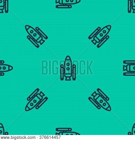 Blue Line Space Shuttle And Rockets Icon Isolated Seamless Pattern On Green Background. Vector Illus