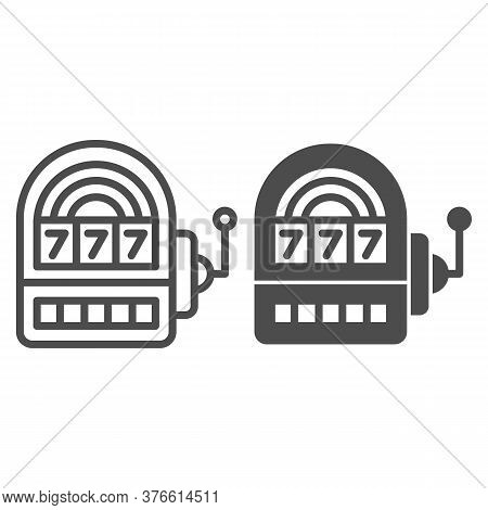 Slot Machine Line And Solid Icon, Entertainment Concept, Casino Symbol On White Background, Lucky Se