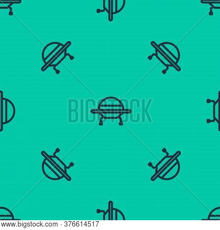 Blue Line Ufo Flying Spaceship Icon Isolated Seamless Pattern On Green Background. Flying Saucer. Al