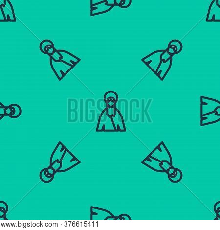 Blue Line Jesus Christ Icon Isolated Seamless Pattern On Green Background. Vector Illustration