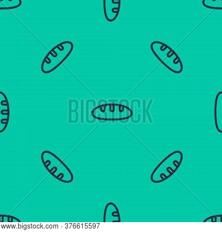 Blue Line Bread Loaf Icon Isolated Seamless Pattern On Green Background. Vector Illustration
