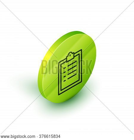 Isometric Line Clipboard With Checklist Icon Isolated On White Background. Control List Symbol. Surv